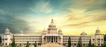 Vidhana soudha, bangalore, karnataka . The Vidhana Soudha located in Bengaluru, is the seat of the state legislature of Karnataka. It is constructed in a style stock images