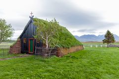 Vidimyri Turf Church in the north of Iceland royalty free stock images