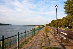 Vidin Riverwalk. Sidewalk by the river Danube in Vidin, Bulgaria Royalty Free Stock Photography