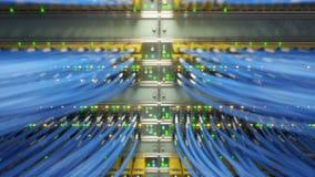 Vidéo loopable entièrement chargée de convertisseurs de media de réseau et de commutateurs d'Ethernet rendu 3d Photographie stock libre de droits