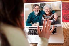Vidéoconférence aînée de couples Photos libres de droits