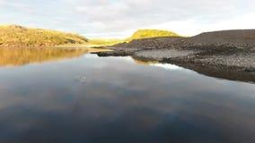 Vidoeiro do anão, pedras musgo-cobertas Um grande lago região em Rússia, Murmansk, Kola Peninsula vídeos de arquivo