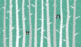Vidoeiro ou Aspen Trees do vetor com neve e pássaros do amor Foto de Stock Royalty Free