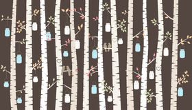 Vidoeiro ou Aspen Trees do vetor com suspensão de pássaros de Mason Jars e do amor Fotos de Stock