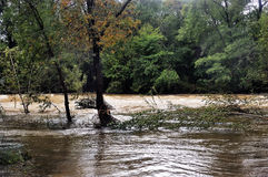 The Vidourle river in flood after heavy rains Royalty Free Stock Photography