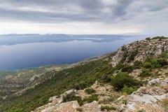 从Vidova Gora峰顶的看法在克罗地亚 库存照片