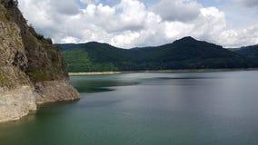 Vidraru artificial lake and dam on Arges river in Transylvania, Romania.  stock image