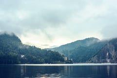 Vidraru lake and dam in Fagaras Mountains at sunset stock image