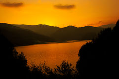 Vidraru Lake on sunset Stock Photos