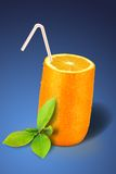 Vidrio anaranjado sobre azul Fotografía de archivo