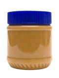 Vidrio cerrado de mantequilla de cacahuete con el camino (vista lateral) Fotos de archivo