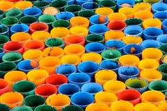 Vidrio colorido de la fila Imágenes de archivo libres de regalías
