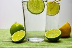 Vidrio con agua mineral, la cal y el limón chispeantes del frío Imagen de archivo