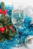 Vidrio con champán Fotografía de archivo