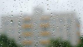 Vidrio con descensos después de la lluvia metrajes