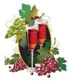 Vidrio con el vino y la uva roja ilustración del vector
