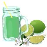 Vidrio con el zumo de lima Cal fresca stock de ilustración