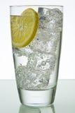 Vidrio con hielo y el limón Foto de archivo libre de regalías