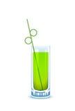 Vidrio con la bebida verde y la paja de beber Fotografía de archivo libre de regalías