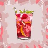 Vidrio con la limonada clásica de la fresa - ejemplo hermoso del vector de las rebanadas de limón, fresas, menta, cubos de hielo stock de ilustración