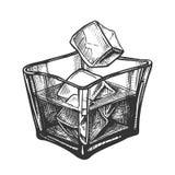 Vidrio cuadrado con el ron Brandy And Ice Cubes Vector stock de ilustración