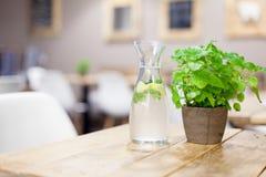 Vidrio de agua con el limón fotografía de archivo libre de regalías