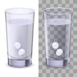 Vidrio de agua y de píldoras Fotografía de archivo