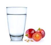 Vidrio de agua y de uvas Imagenes de archivo