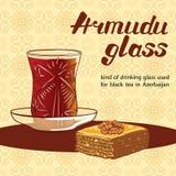 Vidrio de Armudu usado para el té negro en Azerbaijan con el postre del baklava Fotos de archivo libres de regalías