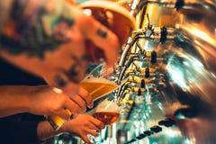 Vidrio de cerveza con el barril, la botella y la aún-vida fresca de los saltos Imagenes de archivo