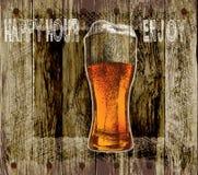 Vidrio de cerveza con espuma la cerveza de madera del fondo feliz hora-goza Ilustración del vector Fotos de archivo