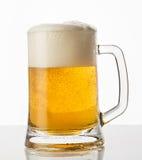 Vidrio de cerveza con la botella Foto de archivo libre de regalías