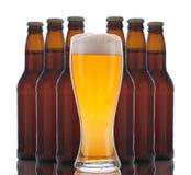Vidrio de cerveza con las botellas detrás Fotografía de archivo
