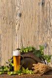 Vidrio de cerveza con los saltos Fotos de archivo