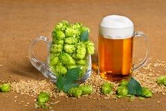 Vidrio de cerveza con los saltos Foto de archivo