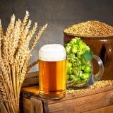 Vidrio de cerveza con los saltos Fotografía de archivo