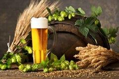 Vidrio de cerveza con los saltos Foto de archivo libre de regalías