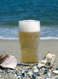 Vidrio de cerveza en la costa Foto de archivo