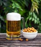 Vidrio de cerveza fría con el bocado, cacahuetes revestidos en la tabla de madera en jardín foto de archivo