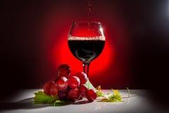 vidrio de colada del vino rojo y de la vid con la hoja Imagenes de archivo