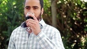 Vidrio de consumición del hombre de vino rojo almacen de video