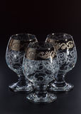 Vidrio de cristal en un fondo negro Foto de archivo libre de regalías