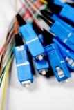 Vidrio de fibra con los enchufes del SC-Conector Imágenes de archivo libres de regalías