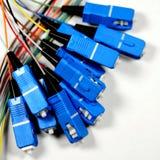 Vidrio de fibra con los enchufes del SC-Conector Imagen de archivo libre de regalías