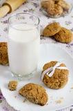 Vidrio de galletas de la leche y de harina de avena en una placa Imagenes de archivo