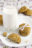 Vidrio de galletas de la leche y de harina de avena en una placa Fotografía de archivo