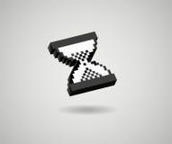 Vidrio de la arena del icono del cursor del pixel 3d del reloj de arena Foto de archivo libre de regalías