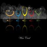 Vidrio de la bebida del alcohol del fondo de la tarjeta del vino Stock de ilustración