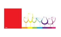 Vidrio de la bebida del alcohol del fondo del concepto de la tarjeta del vino stock de ilustración