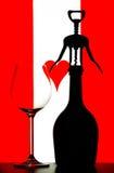 Vidrio de la botella y de vino Imágenes de archivo libres de regalías